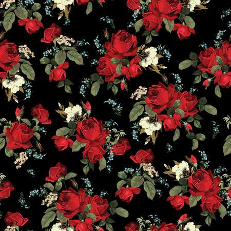 Naadloos bloemenpatroon met rode rozen op zwarte achtergrond Vector illustratie Stock Illustratie