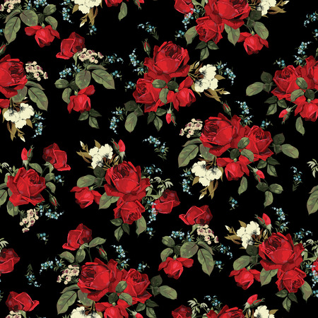 rosa negra: Sin fisuras patrón floral con rosas rojas sobre fondo negro Ilustración vectorial
