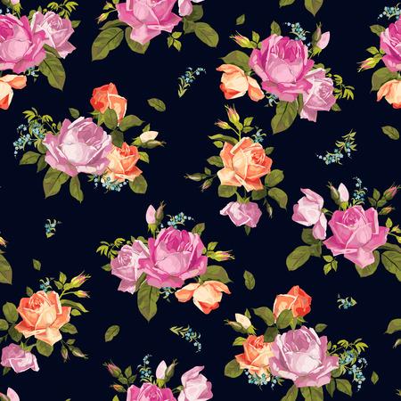 rosas naranjas: Resumen patrón floral con rosas de color rosa y naranja sobre fondo negro Ilustración vectorial Vectores