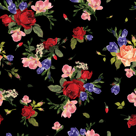 Abstract seamless floral pattern with of  red roses and pink and blue freesia on black background  Vector illustration