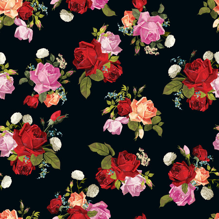 Abstract seamless floral pattern with of white, pink, red and orange roses on black background  Vector illustration