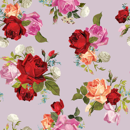 Abstract seamless floral pattern with of white, pink, red and orange roses  Vector background  Vector
