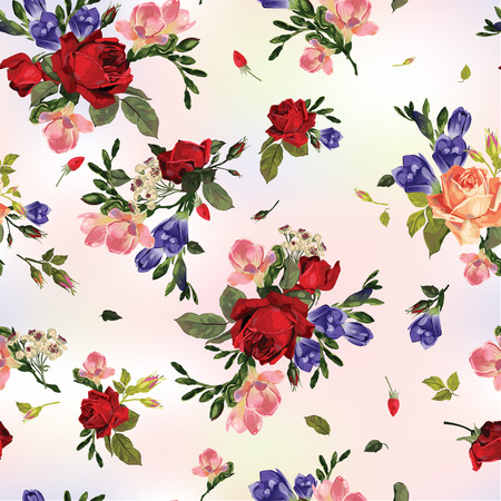 Abstract seamless floral pattern with of red roses and pink and blue freesia  Vector background