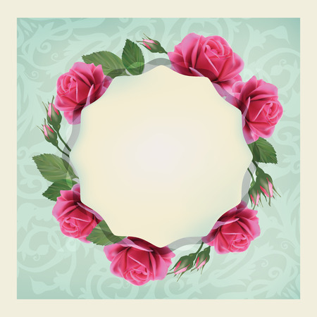 Beautiful vector greeting card with of flowers and elegant pattern  Bright illustration, can be used as creating card, invitation card for wedding, birthday and other holiday and  summer background