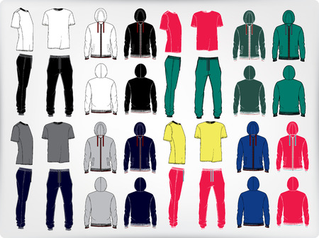 men s: Set of men s sport clothes  zip-through hoodie, sweetpants and t-shirt  Vector illustration of men s sports suit