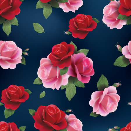 Beautiful abstract seamless floral pattern with of red and pink roses  Vector background  Ilustração