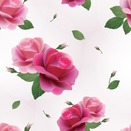 Elegant abstract seamless floral pattern with of pink roses  Vector background  Vector
