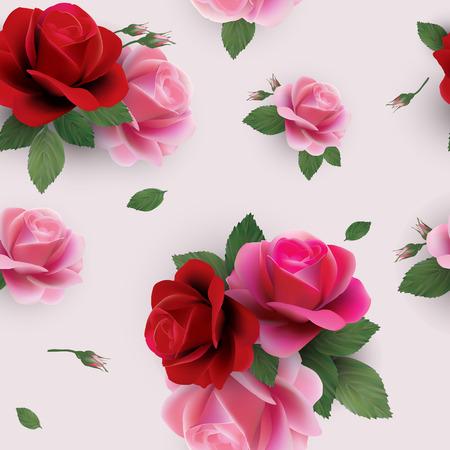 Elegante abstracte naadloze bloemenpatroon met rode en roze rozen Vector achtergrond Stock Illustratie
