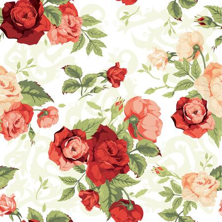 흰색 배경 벡터 일러스트 레이 션에 붉은 색과 오렌지색 장미와 원활한 플로랄 패턴