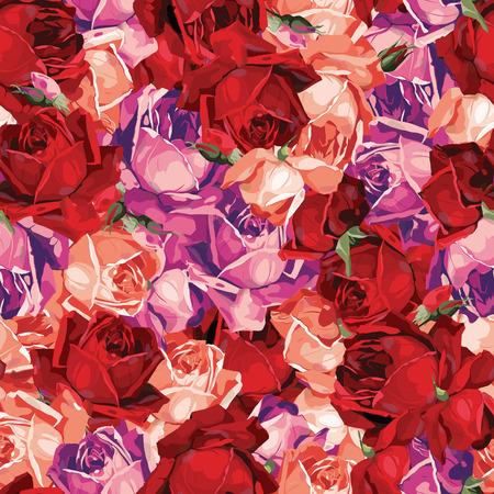 Elegante abstrakte nahtlose Blumenmuster mit der roten, magenta und orange Rosen Vektor-Hintergrund Standard-Bild - 28018569