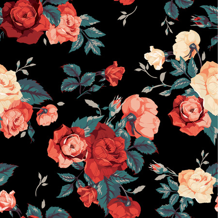 negro: Sin fisuras patrón floral con rosas de color rojo y naranja sobre fondo negro Ilustración vectorial Vectores