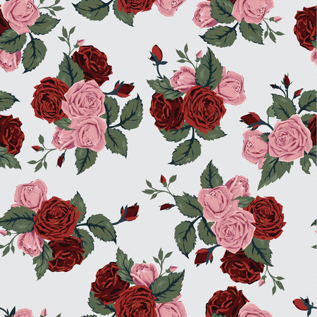 Seamless floral pattern with of red and pink roses  Vector background