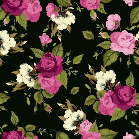 Naadloos bloemenpatroon met roze rozen op zwarte achtergrond Vector illustratie Stock Illustratie