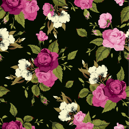 Seamless floral pattern with of pink roses on black background  Vector illustration