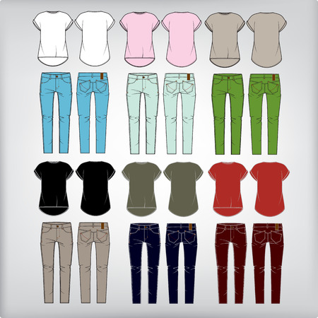 Set of  women s clothes  jeans and shirt  Vector illustration  Vector