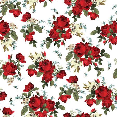 白い背景ベクトル イラストに赤いバラとシームレスな花柄