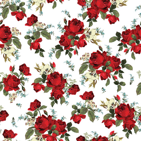 Seamless floral pattern with of red roses on white background  Vector illustration