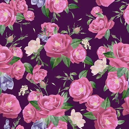 장미와 프리지아의 추상 원활한 플로랄 패턴 일러스트