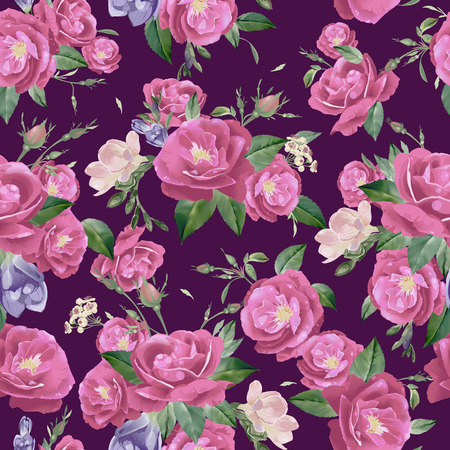 Abstract seamless floral pattern with of roses and freesia  Çizim