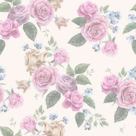 Naadloze bloemmotief met roze rozen op lichte achtergrond, aquarel Vector illustratie Stock Illustratie