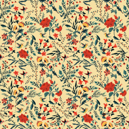 Seamless floral pattern with of roses and birds  Vector background  Vector
