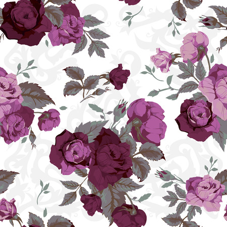 Seamless floral pattern with of purple roses on black background, watercolor  Vector illustration with decoration elements