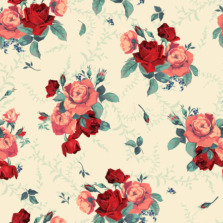 Seamless floral pattern with of roses Vectores