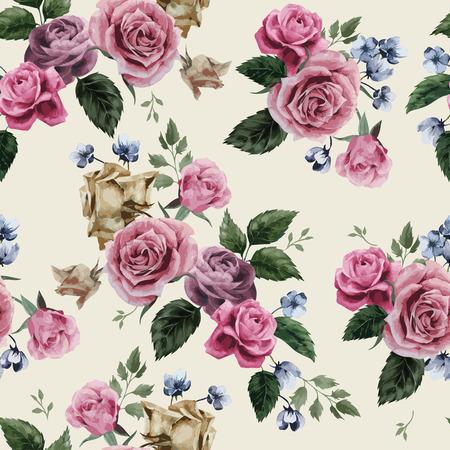 밝은 배경, 수채화 벡터 일러스트 레이 션 핑크 장미와 원활한 플로랄 패턴