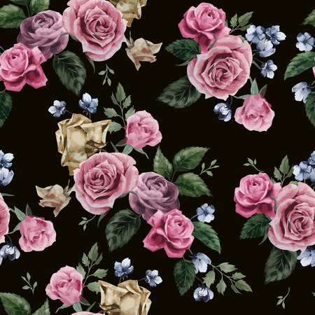 Seamless floral pattern with of pink roses on black background, watercolor  Vector illustration