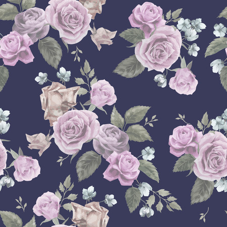 Seamless floral pattern with of pink roses on dark background, watercolor  Vector illustration