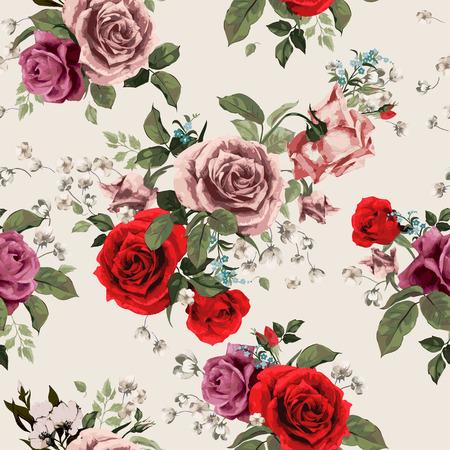 밝은 배경, 수채화 벡터 일러스트 레이 션에 빨간색과 분홍색 장미와 원활한 플로랄 패턴