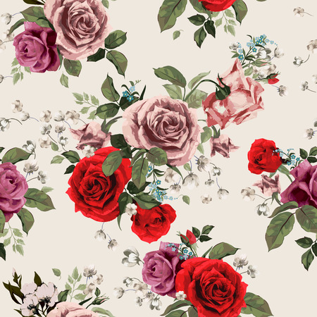 Seamless floral pattern with of red and pink roses on light background, watercolor  Vector illustration