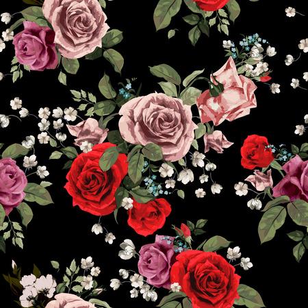 シームレスな花柄と黒の背景に、水彩ベクトル図の赤とピンクのバラの