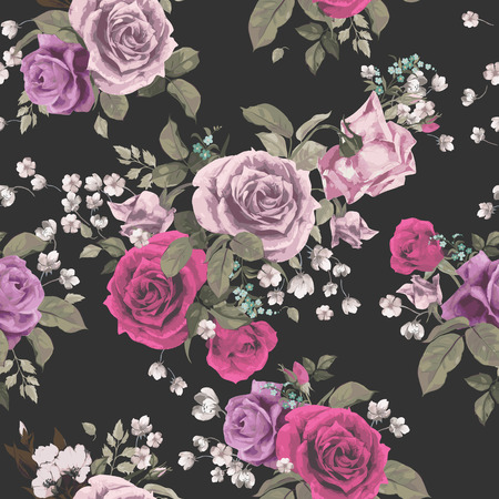Seamless floral pattern with of red and pink roses on dark background, watercolor  Vector illustration