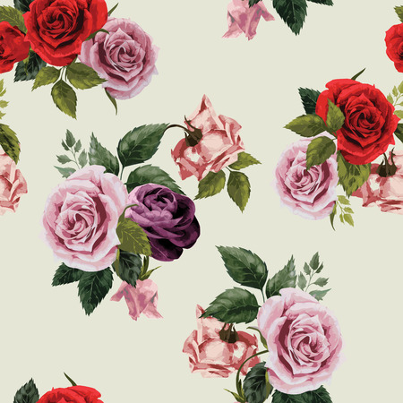 Seamless floral pattern with of red, purple and pink roses on light background, watercolor  Vector illustration