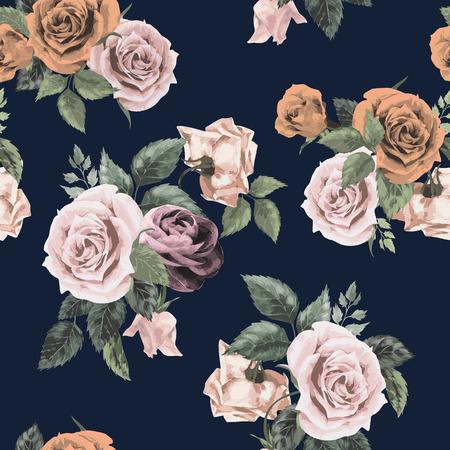 暗い背景の水彩画のベクトル図にバラのとシームレス花柄  イラスト・ベクター素材