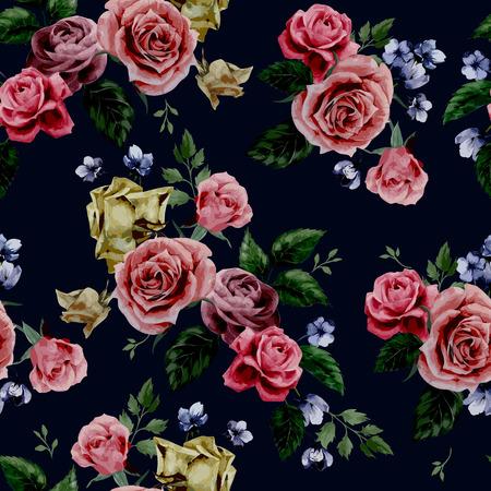 シームレスな花柄と黒の背景に、水彩ベクトル図の赤、紫、ピンクのバラの