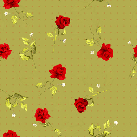 Seamless floral pattern with of red roses  Vector background
