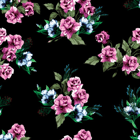 Seamless floral pattern with of roses Çizim
