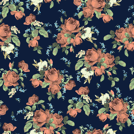 Seamless floral pattern with of  roses on dark background, watercolor  Vector illustration  Çizim