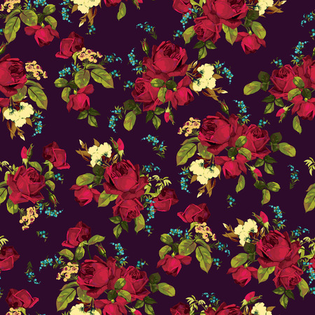 Seamless floral pattern with of  red roses on dark background, watercolor  Vector illustration