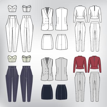 Vector set van vrouwen s kleding blouse, top, het westen, rok en broek. Modecollectie