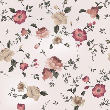 光の背景、水彩ベクトル イラストにバラとシームレスな花柄