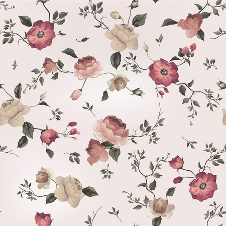 Seamless floral pattern with of roses on light background, watercolor  Vector illustration  Çizim
