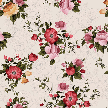 rose stem: Seamless floral pattern with of roses on light background, watercolor  Vector illustration  Illustration