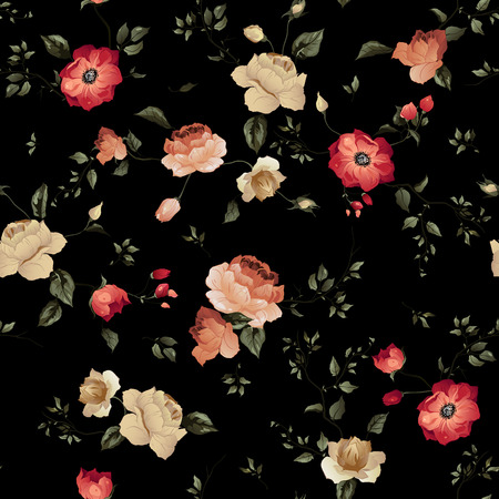 Seamless floral pattern with of roses on dark background, watercolor Vector illustration