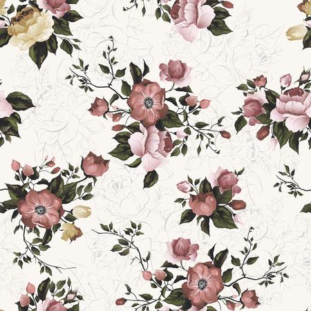 Naadloos bloemenpatroon met van rozen op lichte achtergrond, waterverf Vectorillustratie