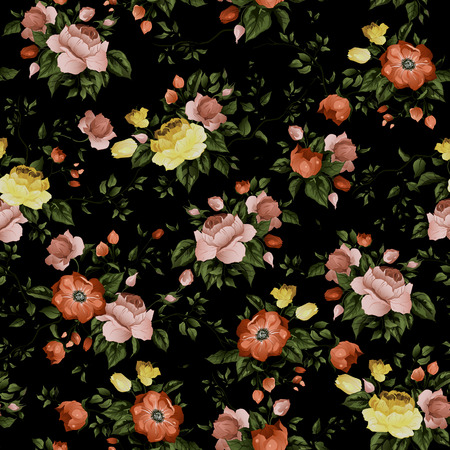 Seamless floral pattern with of roses on dark background, watercolor  Vector illustration  Illustration