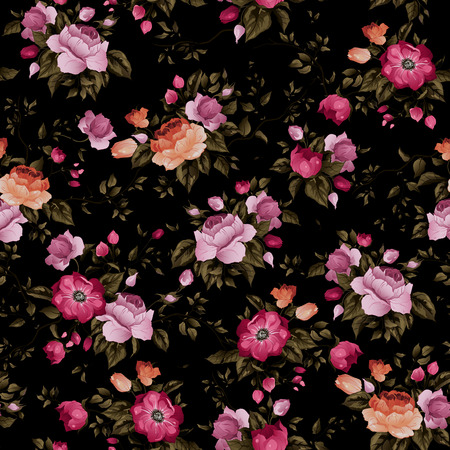 Seamless floral pattern with of roses on dark background, watercolor  Vector illustration  Vectores