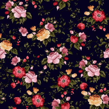 Seamless floral pattern with of roses on dark background, watercolor  Vector illustration  Иллюстрация